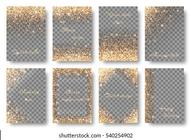 Set of backgrounds with golden lights to design greeting cards on a transparent backdrop. Christmas decorations with glitter.