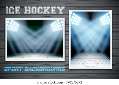 Set Backgrounds of ice hockey arena. Horizontal and vertical orientation. Editable Vector Illustration.