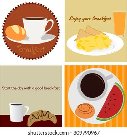 Set of backgrounds and labels with different breakfasts. Vector illustration