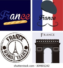 Set of backgrounds and labels with text and french elements. Vector illustration