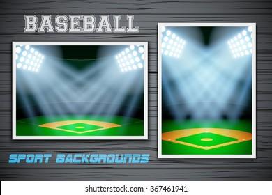 Set Backgrounds of night baseball stadium. Horizontal and vertical orientation. Editable Vector Illustration.