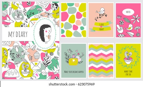 Set of backgrounds for notebook, diary, organizer and other school template design. Vector illustration.
