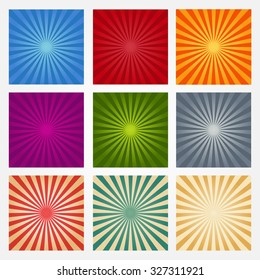 Set of backgrounds ray or abstract sun rays. Collection of blue, red, orange, purple, green and gray light rays. Set texture ray burst and retro rays background.