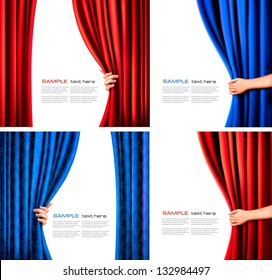 Set of backgrounds with red and blue velvet curtain and hand. Vector illustration.