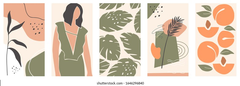 Set of backgrounds for social media platform, stories, banner with abstract shapes, fruits, leaves, and woman shape. Visual design for your social networks, personal blog, shop.