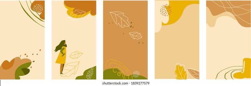 Set of backgrounds for social networks stories.  Trendy design template for social media. Orange, yellow, green colors. Autumn leaves, girl, lines. Vector illustration