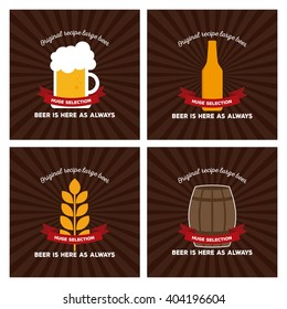 Set of backgrounds with text and different beer icons