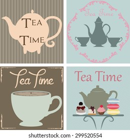 Set of backgrounds with text and tea elements. Vector illustration