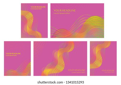 Set of backgrounds with trendy colorful abstract design for brochures, posters, presentations and banners.  Modern templates with flowing overlapping shapes made of curvy lines and dots.  Vector