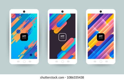 Set of backgrounds with trendy design. Applicable for Cover, Voucher, Poster, Flyer. Splash screen for web site or mobile app / application. Vector illustrate.