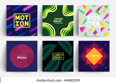 Set of backgrounds with trendy design. Applicable for Covers, Placards, Posters, Flyers and Banners Design.