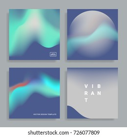 Set of backgrounds with vibrant gradient shapes. Applicable for covers, placards, posters, flyers, presentations, and banner design. Vector illustration. Eps10