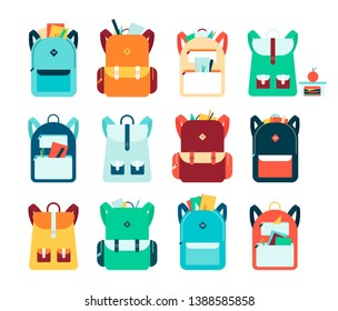 Set of backpacks or schoolbags with pockets and zipper flat vector illustration isolated on white background. Education and study rucksack for students and traveling icon.