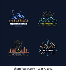Set of badge design for outdoor activities. Line art illustration. Mountain expedition, outdoor camp, wilderness, nature adventure.
