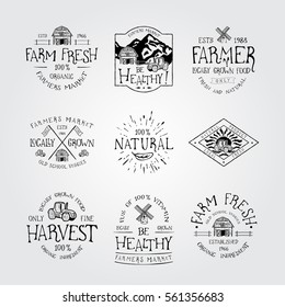 SET OF BADGE FOR FARMERS MARKET, FARM FRESH AND NATURAL  FOOD LOCAL GROWN. Handmade the barn, tractor, mill retro style. Design fashion badge for print. Graphic vintage vector label logo tag template.