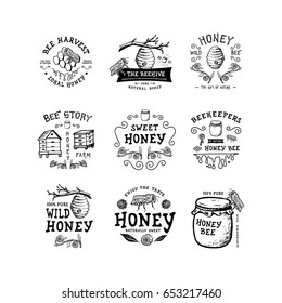 Set of badge Honey. Hand drawn bee, flower, hive, glass jar. Label logo template. Design fashion apparel print. Graphic vintage illustration.