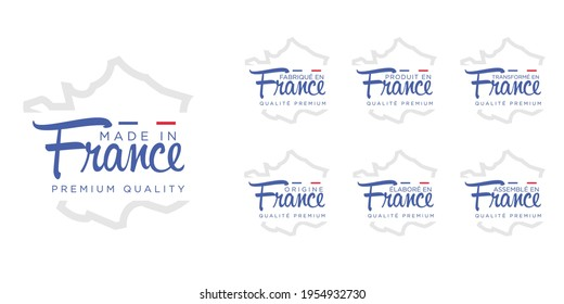 set of badge logotype Made in France, turn into France, on white round background, symbol logo for packaging design