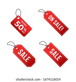 Set of badge sale tag, label price, discount, big deals with gradient red white color vector eps 10