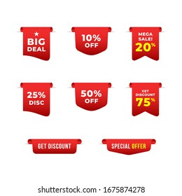 Set of badge sale tag, label price template, discount, big deals with gradient red white color vector eps 10