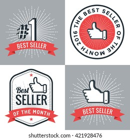 Set of badges, banner, labels, emblem best seller number 1. Design elements. Vector illustration.