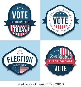 Set of badges, banner, labels, emblem design for united state election 2016. Politic Vote. Design elements. Vector illustration.