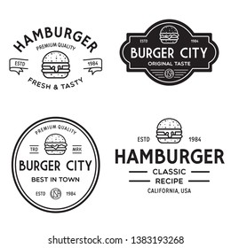 Set of badges, banner, labels and logo for hamburger, burger shop. Simple and minimal design. Isolated vector illustration.
