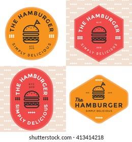 Set of badges, banner, labels and logo for hamburger, burger shop. Simple and minimal design. Vector illustration.