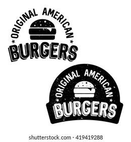 Set of badges, banner, labels and logo for burger shop. Simple and minimal design. Vector illustration.