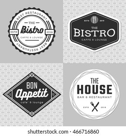 Set of badges, banner, labels and logo for food restaurant, catering. Simple and minimal design. Vector illustration.