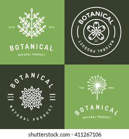 Set of badges, banner, labels and logos for botanical natural product, shop. Leaf logo, flower logo. Linear outline stroke design. Vector illustration.