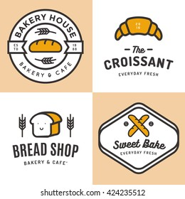 Set of badges, banner, labels, logos, icons, objects and elements for bakery shop bread, croissant, baguette. Vector illustration.