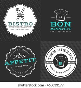 Set of badges, banner, labels and logos for restaurant, foods shop and catering with seamless pattern. Vector illustration.