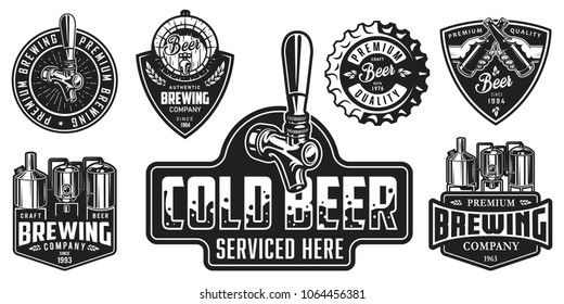 Set of badges with beer equipment in monochrome style. Vector illustration.