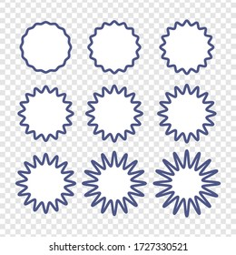 Set of badges - Big set of vector graphic circle frames for design. Circle wave line and wavy zigzag pattern lines. Vector blue outlines, round curvy squiggles
