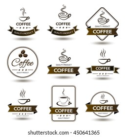set of badges coffee cup drink on white