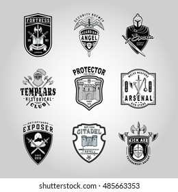SET OF BADGES WITH COOL WEAPONS, HELMETS AND FORTRESS OF ANCIENT TIMES. Hand made drawn retro vintage sword, battle axe, shields, crests and heraldry logo design elements. Isolated vector illustration