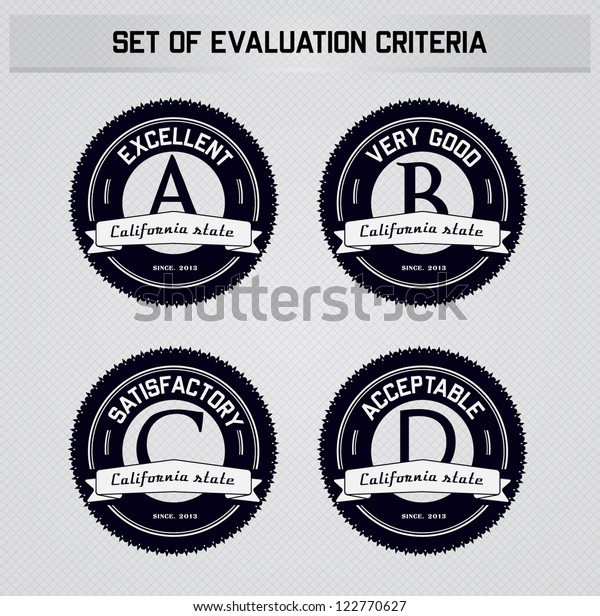 Set of badges with evaluation criteria