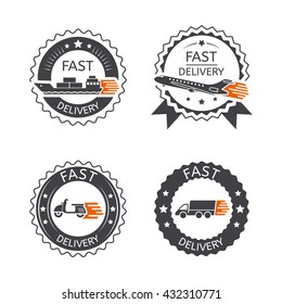 Set of badges fast delivery transport, truck, ship, plane, scooter for apps and websites isolated on white background. Vector illustration