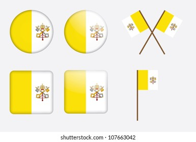 set of badges with flag of Vatican City vector illustration