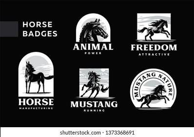 A set of badges frisky horses. Vector illustration.