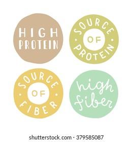 Set of badges: high protein, high fiber, source of protein, source of fiber.