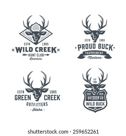 Set of badges labels logo design elements. Deer head. Collection of quality emblem templates for business. Premium retro vintage symbols. Vector illustration. Hand crafted authentic drawn graphics.