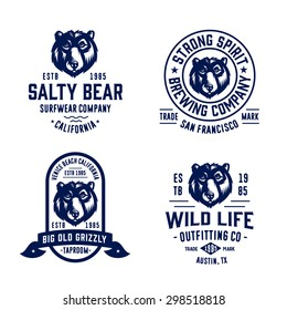 Set of badges labels logo design elements. Collection of quality vintage emblems for various businesses. Premium retro vintage americana style symbols. Vector illustration.