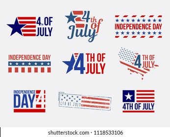 Set of badges and labels and stamps, independence day.