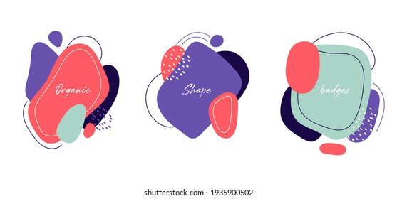 Set of badges modern abstract colorful organic shapes with lines on white background. Vector illustration