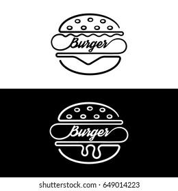 Set of badges sandwich.Logo hamburger.Linear style.Symbol fast food.Vector illustration.
