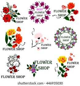 Set badges and stickers for the flower culture industry, florists, or for signage or advertising flower shop