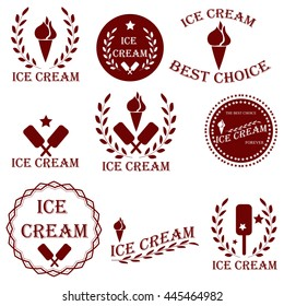 Set badges and stickers for sale of ice cream or advertising cafe or shop that sells ice cream. It can be used as a logo, emblem and other