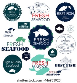 Set badges and stickers for the seafood industry, such as cafes, restaurants and shops with sea food and seafood sales
