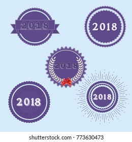 Set of badges with tag for 2018